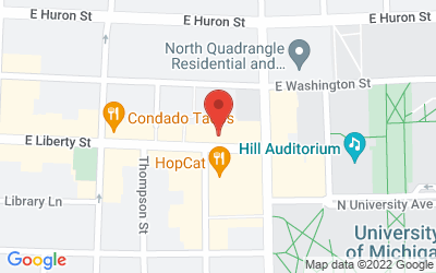 Map of Michigan Theater, 601 E. Liberty St., Ann Arbor, MI  48104