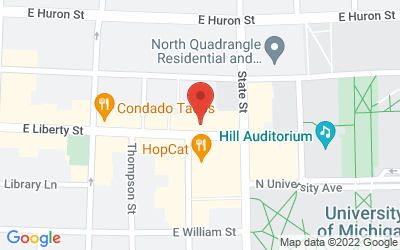 Map of Michigan Theater, 603 E. Liberty St., Ann Arbor, MI  48104