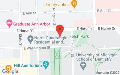 Map of Rackham Amphitheatre (4th floor), 915 E. Washington St., Ann Arbor, MI  48109
