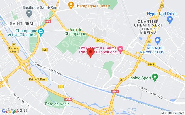 <div class='adr' >                             <div class='street-address'>Parc Des Expositions</div>                             <div class='extended-address'></div>                             <div>                                 <span class='locality'>Reims</span>,                                 <span class='region'></span>                                 <span class='postal-code'>51100</span>                             </div>                             <div class='country'>France</div>                         </div> on Google Maps