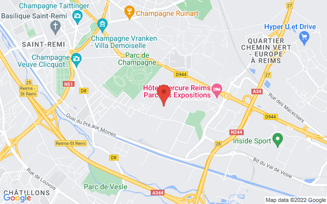 <div class='adr' >                             <div class='street-address'>Parc Des Expositions</div>                             <div class='extended-address'></div>                             <div>                                 <span class='locality'>Reims</span>,                                 <span class='region'></span>                                 <span class='postal-code'>F-75008</span>                             </div>                             <div class='country'>France</div>                         </div> on Google Maps
