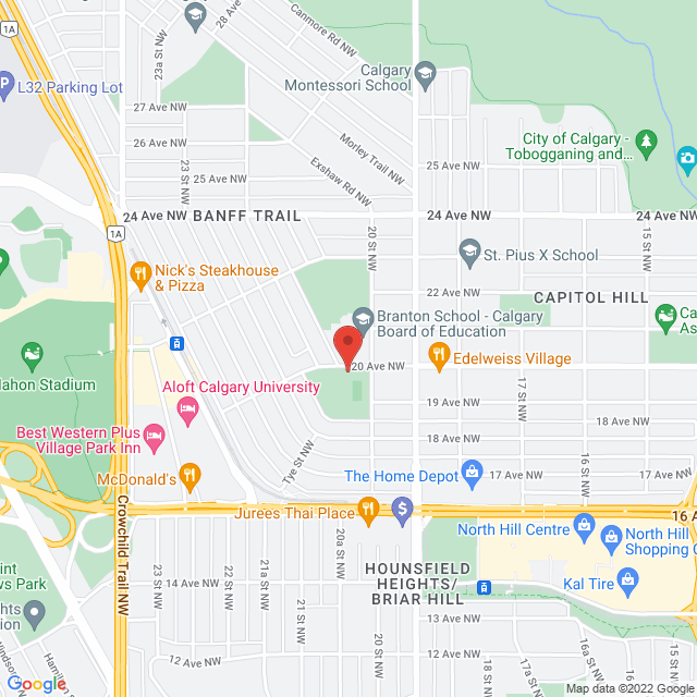 Map to Living Word Church in Calgary , AB
