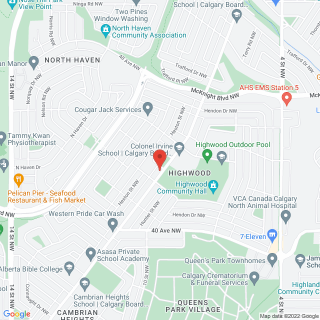Map to Northmount Baptist Church in Calgary, AB