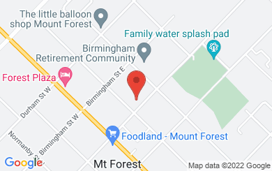 Map to First Baptist Church in Mount Forest, ON