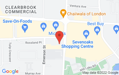 Map to Sevenoaks Alliance Church in Abbotsford, BC