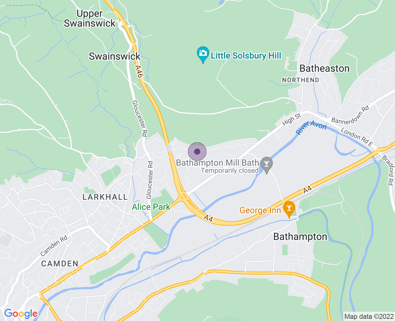 Location of (Bailbrook House Hotel)