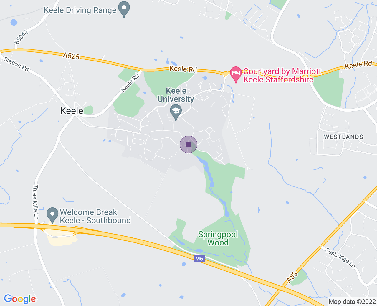 Location of (Keele Hall)