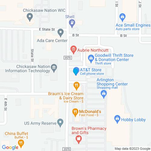 Map of Ada, OK