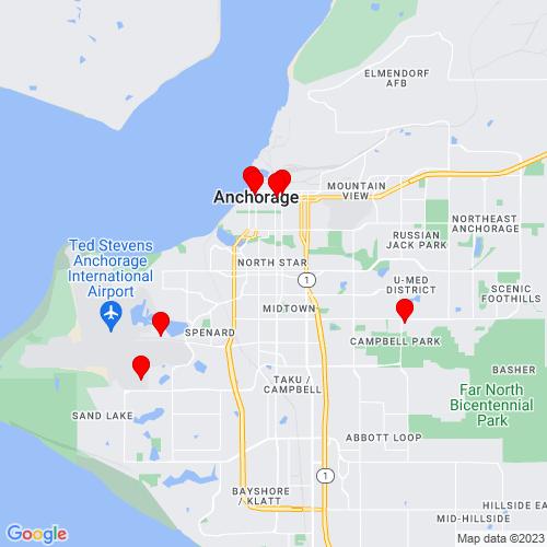 Map of Anchorage, AK