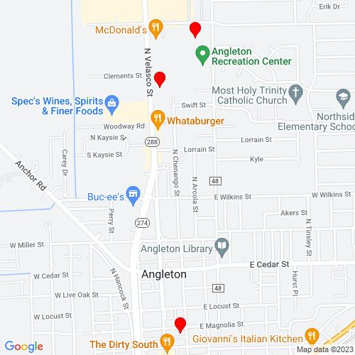 Map of Angleton, TX
