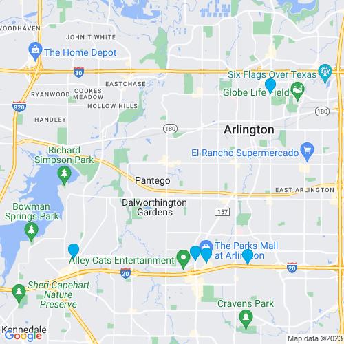 Map of Arlington, TX