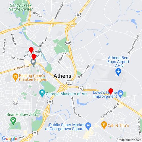 Map of Athens, GA