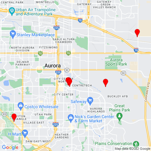 Map of Aurora, CO
