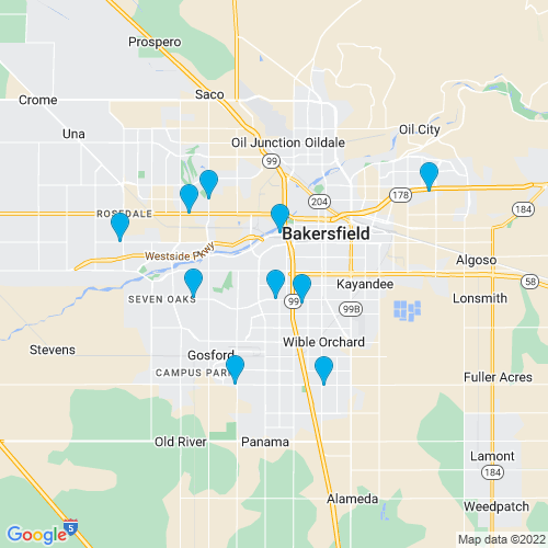 Map of Bakersfield, CA