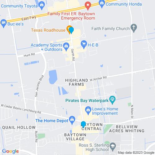 Map of Baytown, TX