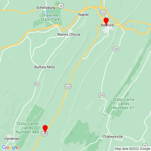 Map of Bedford, PA