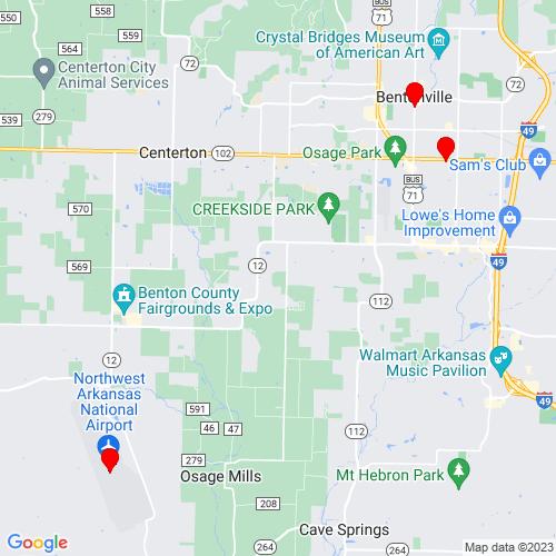 Map of Bentonville, AR
