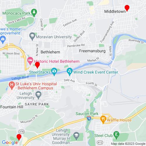 Map of Bethlehem, PA