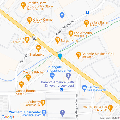 Map of Boone, NC