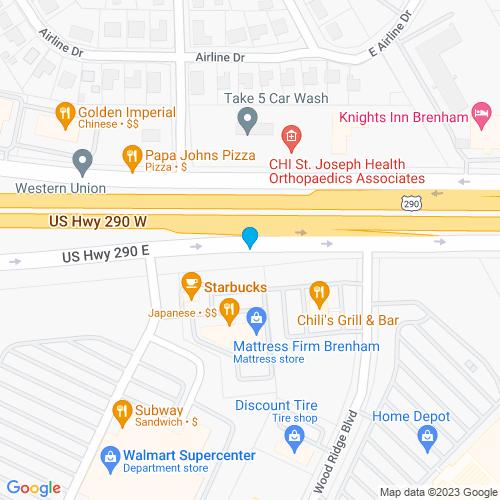 Map of Brenham, TX