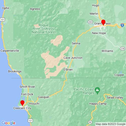 Map of Brookings, OR