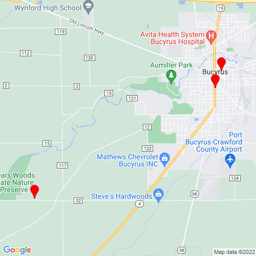 Map of Bucyrus, OH