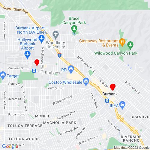 Map of Burbank, CA