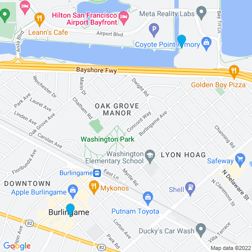 Map of Burlingame, CA