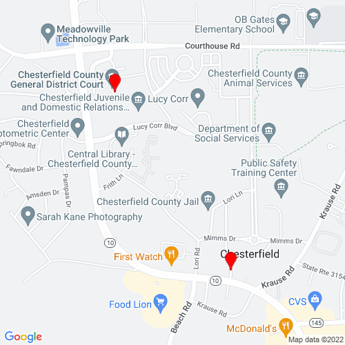 Map of Chesterfield, VA