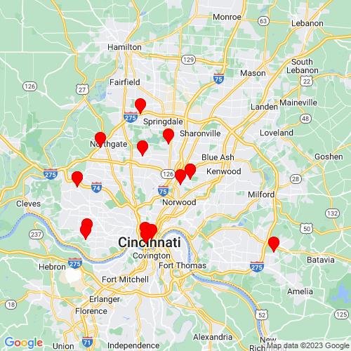Map of Cincinnati, OH