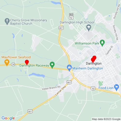 Map of Darlington, SC