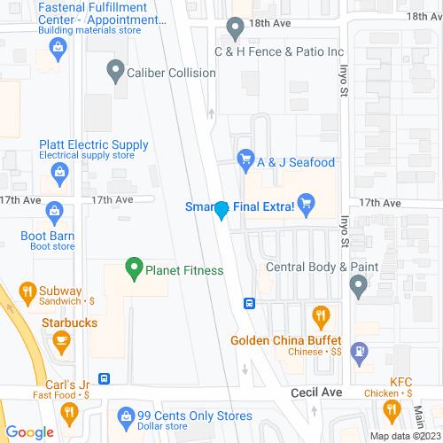 Map of Delano, CA