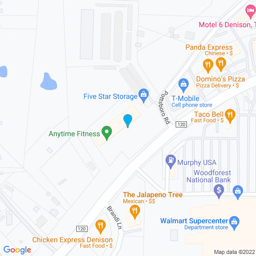 Map of Denison, TX