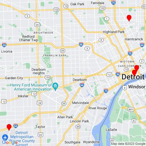 Map of Detroit, MI