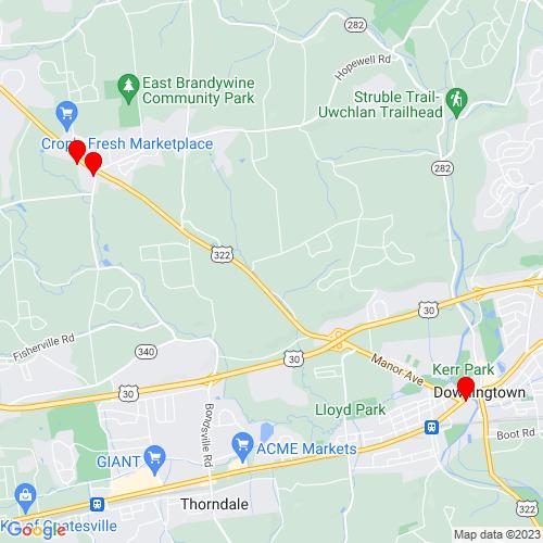 Map of Downingtown, PA