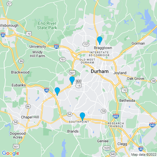 Map of Durham, NC