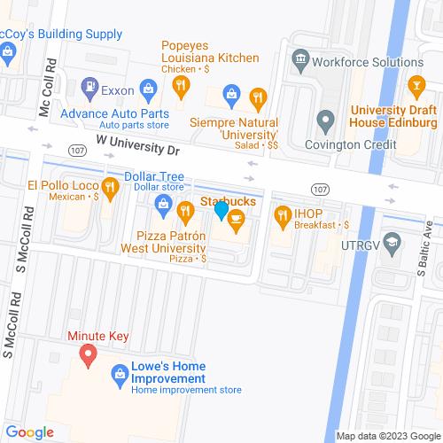 Map of Edinburg, TX