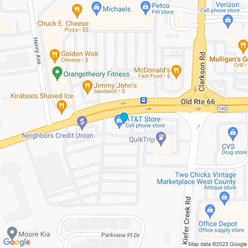 Map of Ellisville, MO