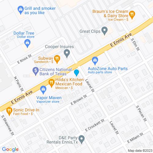Map of Ennis, TX