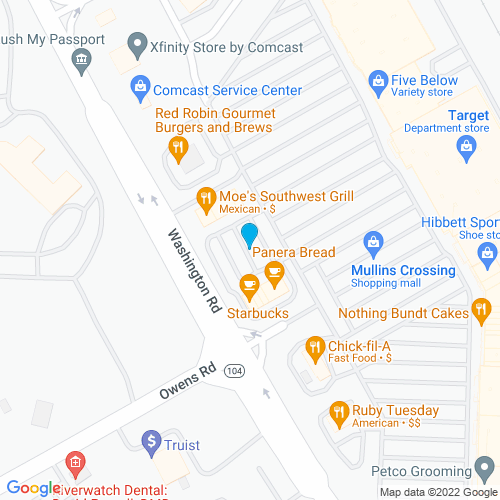 Map of Evans, GA
