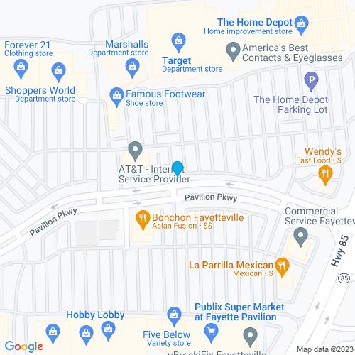 Map of Fayetteville, GA