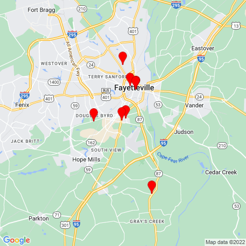Map of Fayetteville, NC
