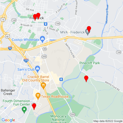 Map of Frederick, MD