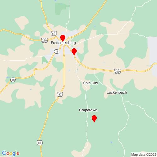 Map of Fredericksburg, TX