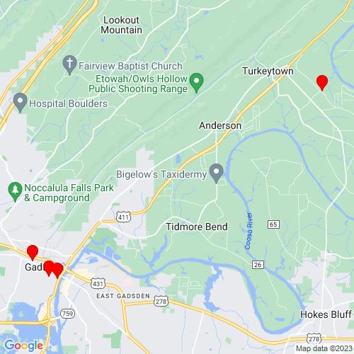 Map of Gadsden, AL