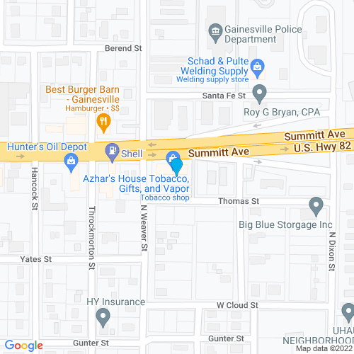 Map of Gainesville, TX