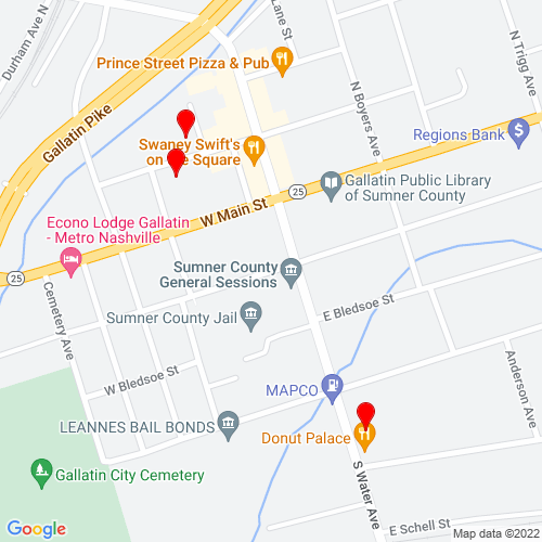 Map of Gallatin, TN