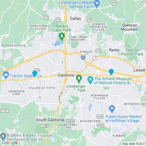 Map of Gastonia, NC