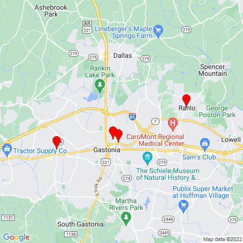 Map of Gastonia, NC