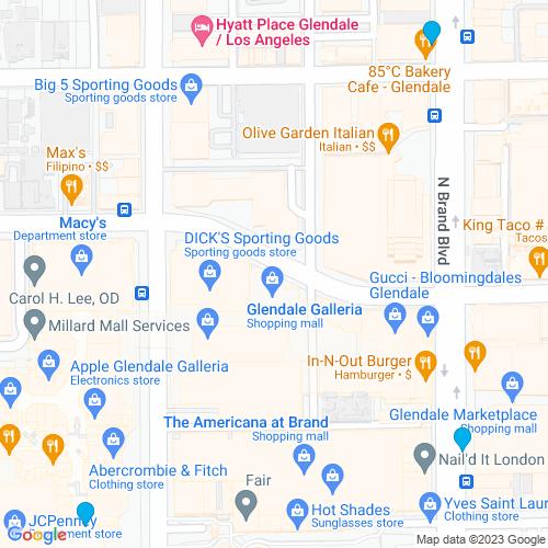 Map of Glendale, CA